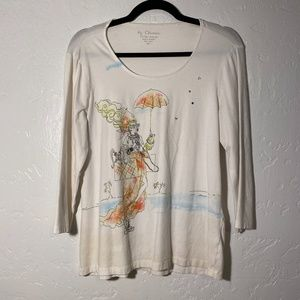 by Chicos long sleeve blouse, size 1.
